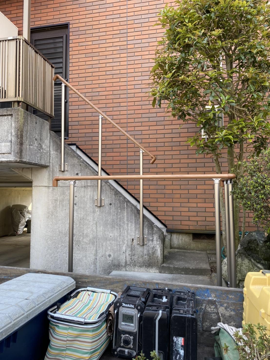 階段に手すり取付工事
